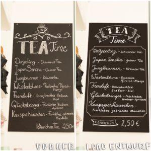 Teetafel-Lettering: vorher und digitaler Vorschlag